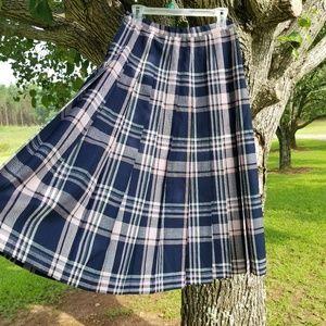 Pendleton Virgin Wool A-line Pleated Plaid Skirt